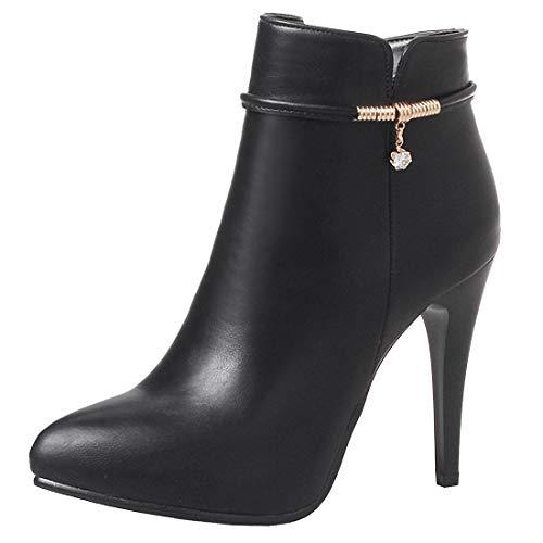 YE Damen Knöchelstiefel High Heels Stiletto Ankle Boots mit Zipper und 10cm Absatz Women Short Boots Spitze Elegante Schuhe(Schwarz,38)