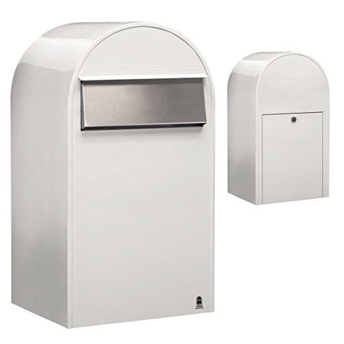 Bobi Grande B Briefkasten RAL 9016 weiß, Klappe aus Edelstahl Zaunbriefkasten