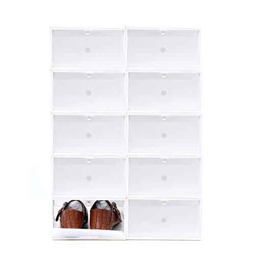 Sinbide 10 * Cajas para Zapatos Transparente Plástico, Cajas de Zapatos para Hombres y Mujeres, Organizador...