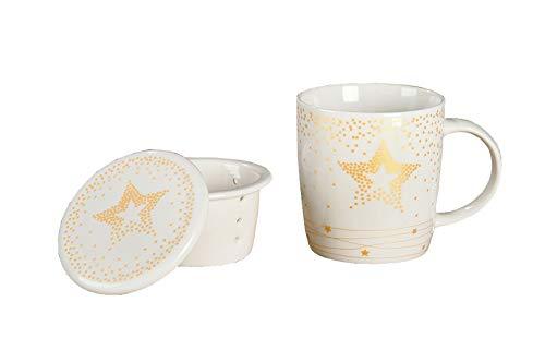 Handwerk Teetasse mit Teesieb und Deckel Stern weiß Gold Porzellan 3er Set