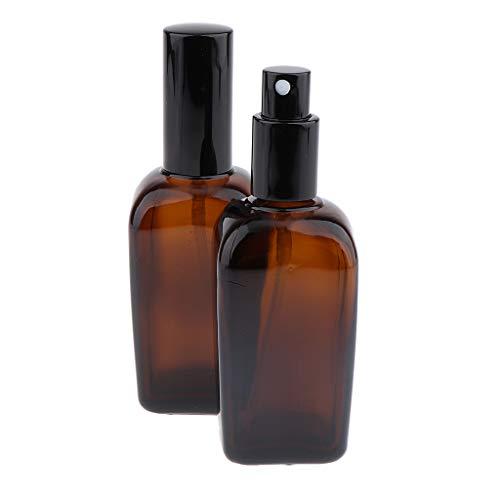 B Blesiya 2 Stück Apotheker-Sprühflasche aus Braunglas, kleine Glasflaschen mit Zerstäubereffekt - 100 ml