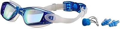 Bezzee-Pro gafas de nado con estuche de protección y tapones de oídos gratis recomendadas para adultos - Protección UV- Lentes espejo, color - anti-niebla y anti-ruptura - sin filtraciones - sin deslumbramiento - visión clara - Azul / Negro