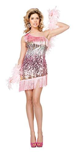 Karneval-Klamotten Retro Kostüm 20er Jahre Kostüm Damen Charleston Damen-Kostüm rosa Größe 38