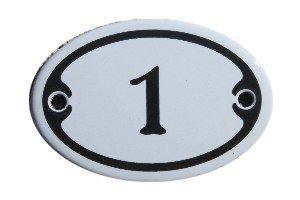 Nummer 1 mini Emaille Schild Jugendstil ca. 4,2 x 6,2 cm Türschild Zimmer Schublade Schrank Kommode Emailschild oval weiß -