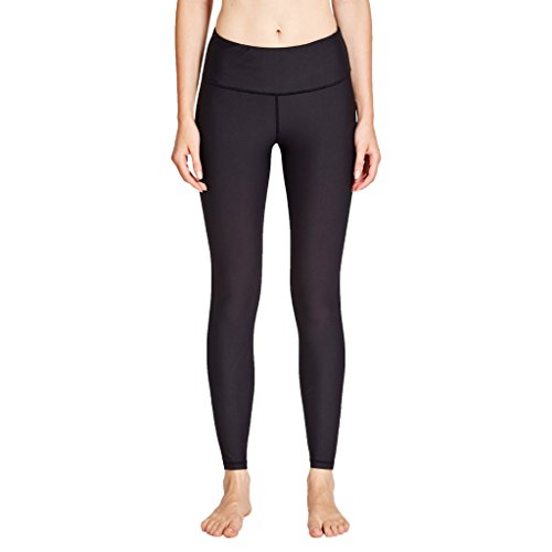 COOLOMG Damen Yoga Capri Kompression Hosen Leggings Sport Trainingshose schwarz M