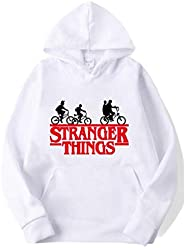 desolateness Men's Hooded Loose Stranger things Letter Printed Sweats