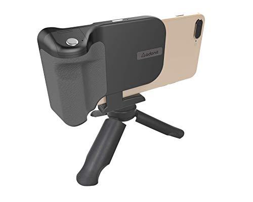 Aufrecht Reise-set (Adonit PhotoGrip Bluetooth-Kamera-Auslöser-Fernbedienung, Reise-Set inkl. Mini-Stativ und Tragetasche für iPhone X/iPhone 8/Plus/Samsung Galaxy S9/Plus/S8/Plus/S7/Samsung Edge Note 8/9)