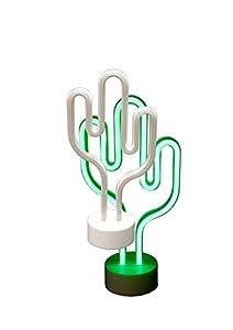 Classic Line 0896-014LED Neon Luz de Cactus, Altura Aprox. 30cm, Color Blanco/Verde