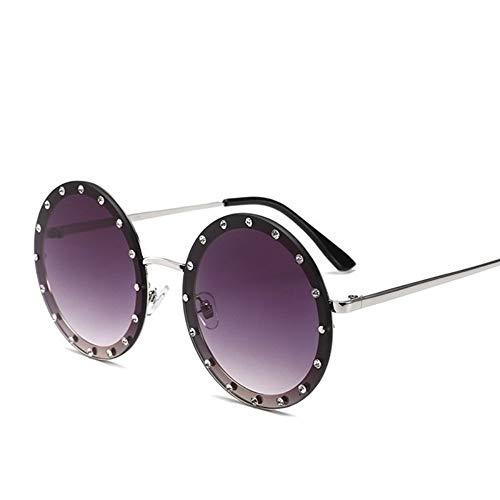 MoHHoM Sonnenbrille Oversized Runde Niet Designer Sonnenbrille Frauen Vintage Metallrahmen, Klare Gläser Sonnenbrille Pink Gelb Blau Brille Silber Grau