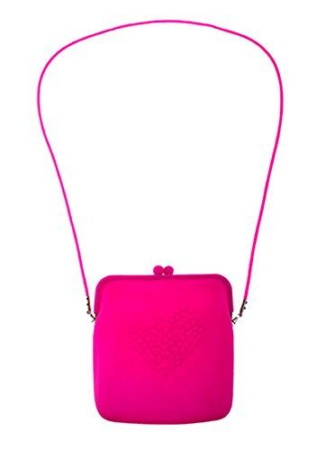 Faschingsfete Kostüm Accessoire- Neon- Handtasche- Umhängetasche, 18cm, Neonpink