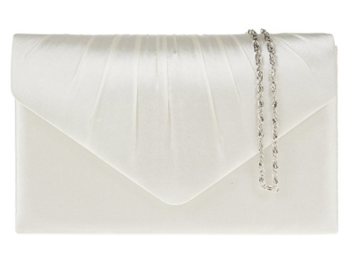 fi9® , Damen Clutch Elfenbein elfenbeinfarben (Handtasche Elfenbein Damen)