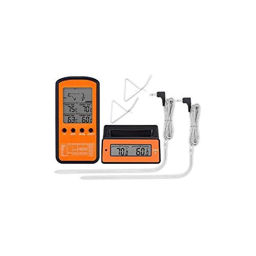 Wireless Remote Dual-Sonde Digitales Kochen Fleisch Lebensmittel Ofen Thermometer für das Grillen Raucher BBQ, Schwarz und Orange (Remote Thermometer Grillen)