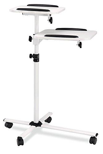 Pronomic PT-6 MKII Beamer- und Projektorwagen Beamertisch Rollwagen Medienwagen für Video-, Dia-, Overhead-Projektoren, Laptoptisch, Notebooktisch (höhenverstellbar, Ablageflächen, neigbar) weiß - Beamer Stand-wagen