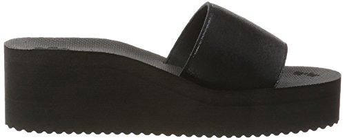 flip*flop Damen Pool Wedge Metallic Plateausandalen Schwarz (Black)