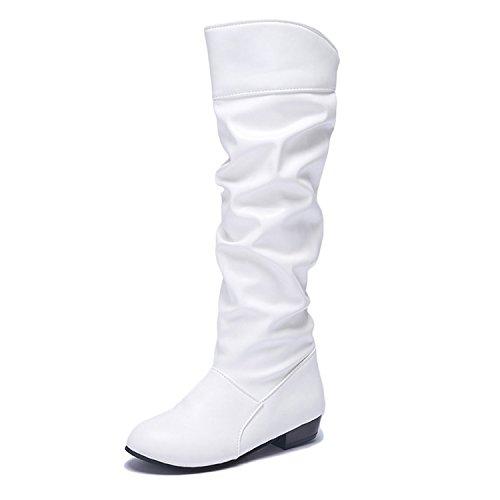 DAFENP Damen Klassische Langschaftstiefel Stiefel Lederoptik Flach Stiefel Schuhe,DP-XZ739-White-EU37 (Schwarze Und Weiße Stiefel)