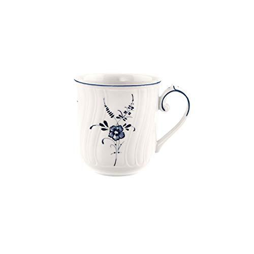 Villeroy & Boch Vieux Luxembourg Kaffeebecher, 350 ml, Höhe: 8,8 cm, Premium Porzellan, Weiß/Blau