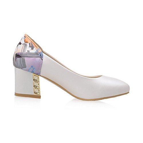 VogueZone009 Damen Gemischte Farbe Ziehen Auf Rund Zehe Mittler Absatz Pumps Schuhe Weiß