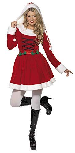 Smiffys, Damen Weihnachtsfrau Kostüm, Kleid mit Kapuze, Größe: -