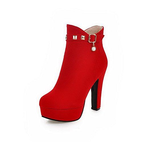 VogueZone009 Damen Hoher Absatz Mattglasbirne Rein Reißverschluss Stiefel mit Anhänger Rot