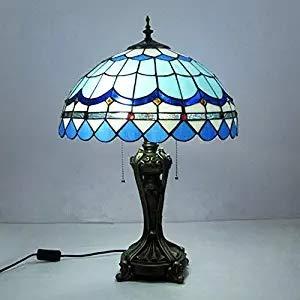 Light-YRQ Tiffany-Stil Tischlampe 16 Zoll Moderne mediterrane Glasmalerei Tisch Schreibtisch neben Lampe Schlafzimmer Nachttischlampe, Living Decoration Nachtlicht, E27 - Moderne Glasmalerei