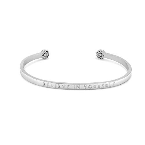 Simple Pledge - Believe in Yourself - Blind - Armreif in Silber mit Gravur für Damen