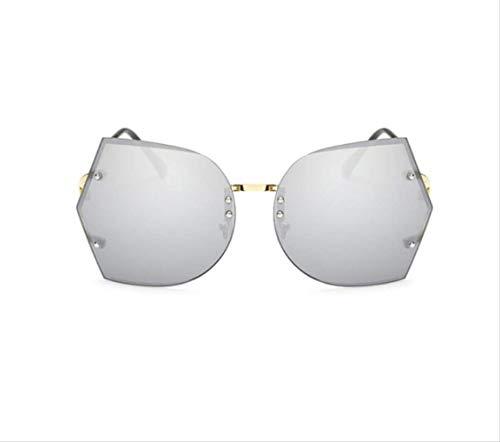 shengbuzailai Randlose klare Sonnenbrille Schmetterling übergroße Metallbrille Vintage Designer Frauen Promi große Sonnenbrille A7