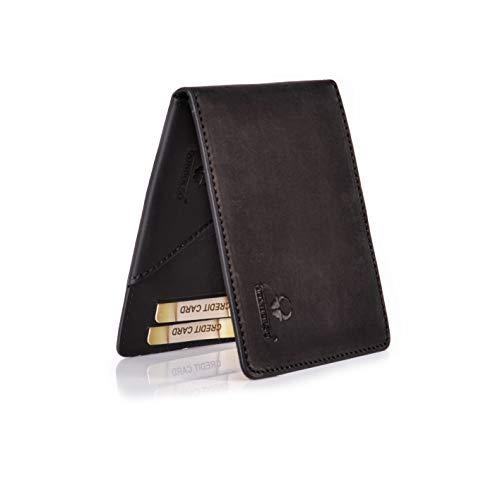 Donbolso Geldbörse Madrid Leder Herren Mini Geldklammer mit RFID-Schutz Brieftasche Männer Schwarz -