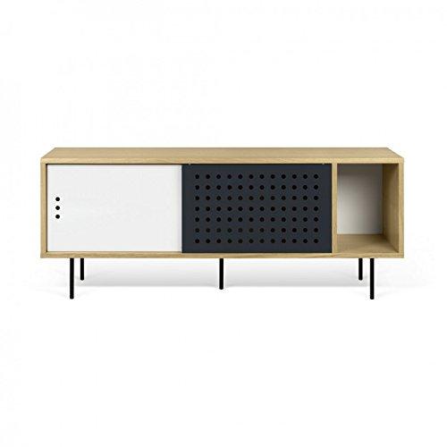 Paris Prix - Temahome - Meuble TV Design dann Dots 165cm Chêne & Blanc