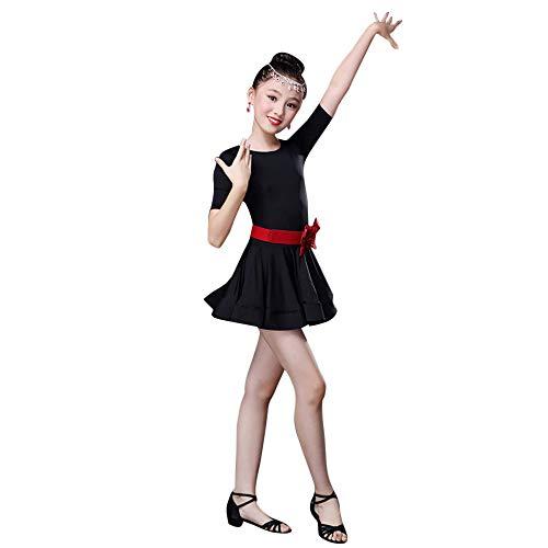 Lazzboy 2019 Kostüme Kleinkind Kinder Mädchen Latin Ballett Kleid Party Dancewear Ballsaal(Höhe100,Schwarz)