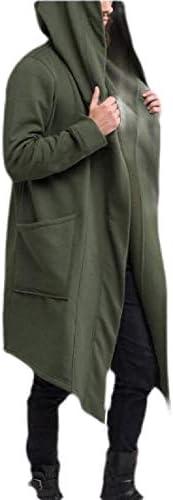 pujingge Mens Fashion Hip Hop Open Front Sweatshirt Hoodie Casual Cardigan Long Jacket