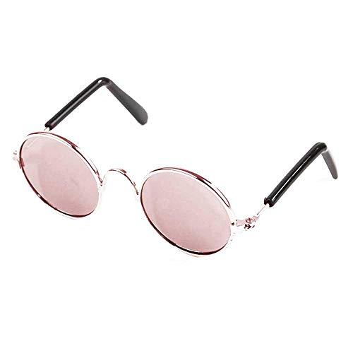 AOLVO Coole Klassische Retro-Haustier-Sonnenbrille, Stilvolle und Lustige Niedliche Haustier-Sonnenbrille mit Kreisförmigen Metall-Brillengläsern, Geeignet für Katzen und Kleine Hunde