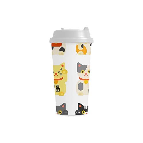 tze glücklicher Miezekatze kundenspezifischer personalisierter Druck 16 Unze doppelwandiger Plastikisolationssport Wasser Flaschen Schalen Pendler Reise Kaffeetassen für Studenten ()