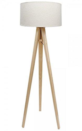 Dreibein Stehlampe Jalua F Velours creme & gold Stativ aus Kiefernholz H: 140cm