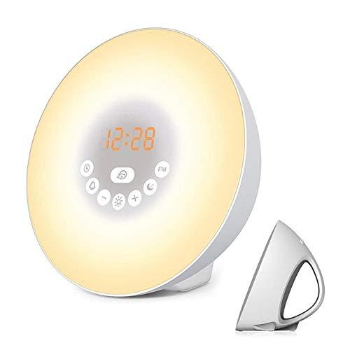 VISTANIA Wake Up Light Sunrise Simulator Alarm Clock 6-Natur-Sounds mit Digital FM Radio Touch Control 7-Color Night Smart Snooze Funktion (Alarm Noise Clock Machine)