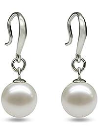 395482cf0cac Hoveey 1 par de pendientes de mujer de plata de ley 925 con perla clásica  para