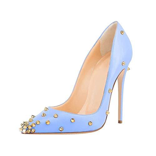 LYY.YY Frauen Spitze Geschlossene Zehe Pumps Zehe Schuhe Wasserdichte Plattform Besetzt Stilettos Tageslänge Kleid Einzelne Schuhe (Absatzhöhe: 12Cm),Blue,44