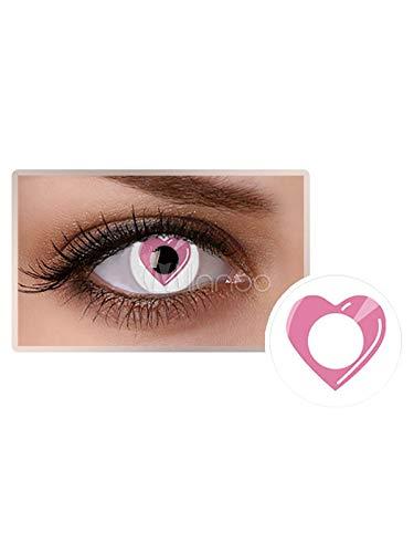 Farbige Kontaktlinsen, Halloween, Fasching, weich, ohne Stärke als 2er Pack - angenehm zu tragen, perfekt zu Halloween, Karneval, Fasching, Junggesellen abschied, Party Herz