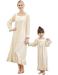 Minetom Madre Hija Otoño Invierno Manga Larga Camisón Mujer Niña Familia Pijama Cómodo Suave Terciopelo Vestido Largo con Bowknot