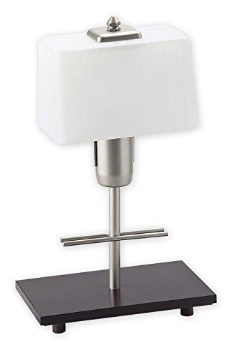 Geschmackvolle Tischleuchte Holz Wenge Weiß Bauhaus Stil E27 bis 60W 230V mit Schalter Stahl Glas...