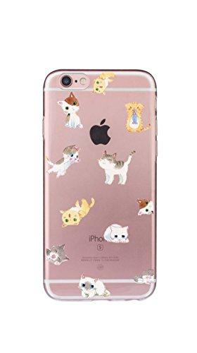 Case Cover Per iphone 6/6S Plus 5.5 pollici Trasparente TPU Gel Silicone Bumper Protettivo Skin Custodia Ultra-sottile Flessibile morbido Protettiva Shell(barba) gatto 1
