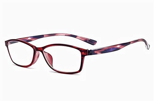 JSHFD Lesebrille Blue Light Blocking Brille Frauen und Männer Mode Brillen mit Muster Design Lightweight Frame (Color : Red, Size : 1)