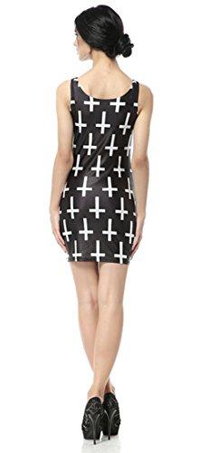 THENICE Damen Weste Kleider Reizvolle dünne Kleid Cross