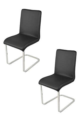 Tommychairs - Set 2 sedie Greta per Cucina e Sala da Pranzo, con scocca in Multistrato Imbottita e Rivestita in Ecopelle Nera e Basamento a Slitta in Tubo Rettangolare Cromato ad Alta Resistenza