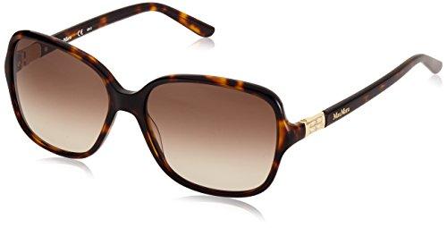 Max mara mm diamond ha lhd 58, occhiali da sole donna, marrone (dark havana/brown sf)