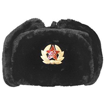 Cazador Ruso Sombrero con Soviético Insignia Piel Sintética Ushanka Cosaco Aletas Negro