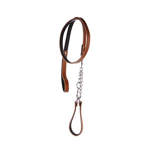 lovpe Hundeleine aus echtem Leder Leine und Halsband mit Stahl Kette für kleine mittelgroße und große Hunde [Training] [Running] [Walking] Wandern, [Halsband Verstellbereich 39,9-50cm] -