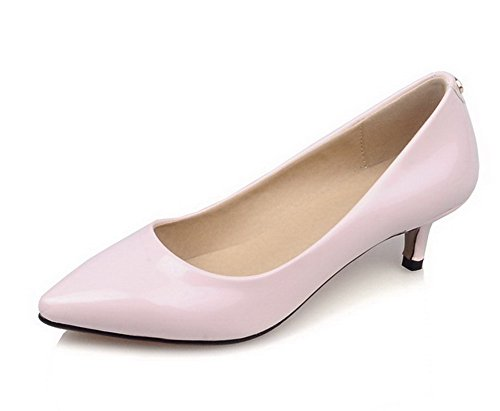 AgooLar Femme Tire Pu Cuir Pointu à Talon Correct Couleur Unie Chaussures Légeres Rose