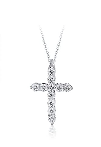 Diamond Studs Forever - 1/2 Carat Total Weight Diamond Cross Pendant With Chain IGI USA Certified GH/I1 14K White Gold