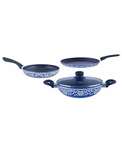 Brilliant Blue Pottery Induction Base Nonstick Cookware Set    4 Pcs