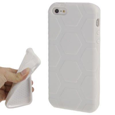 "iPhone 5/5S Coque/Case en Silicone Blanc/Blanc de style ""Hexagon-Original de thesmartguard uniquement"